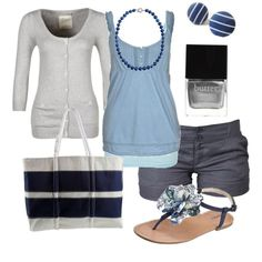 navy stripes, created by htotheb on Polyvore now this is cute.