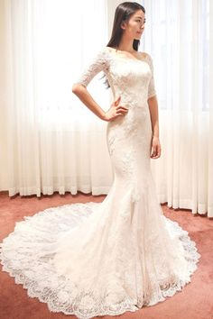 Off-The-Shoulder Half Sleeve Mermaid Court Lace Ivory Wedding Dress WD091,Wedding Dresses,Mermaid Dress,Bridal Gowns