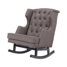 Rocking Chair: Nursery Works Empire Rocker - Dark Legs - Pebble ($699) ❤ liked on Polyvore featuring home, furniture, chairs, accent chairs, pebble, wingback accent chair, tufted chair, tufted furniture, wingback chair and wingback rocking chair