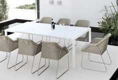 Outdoor dining table Quarto by Manutti. Terrace, Garden, pool exclusive outdoor furniture.