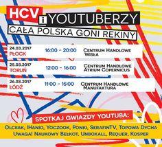 W ten weekend jesteśmy w Płocku (24.03, Galeria Wisła), Toruniu (25.03, Atrium Copernicus) oraz Łodzi (26.03, Manufaktura)!  Wydarzenie na naszym Facebooku: http://www.facebook.com/events/1198250606962911/ #HCVJestemSwiadom