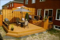 Patio Plus - Wooden Deck - Wood Decora la Maison Patio Plus, Outdoor Spaces, Outdoor Living, Outdoor Ideas, Tiered Deck, Wooden Screen Door, Hot Tub Deck, Porch Kits, Building A Porch