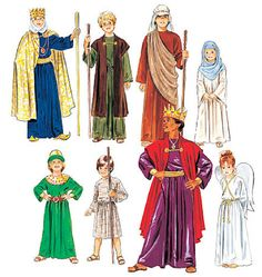 NATIVITY Costume Sewing Pattern  EASY Angel King Shepherd- I have seen similar patterns in many pattern books.  I think it would be good to give you a base for many halloween costumes as well.  I hate buying patterns I will only use once.