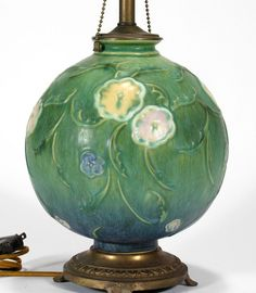 Roseville Pottery factory ball lamp matte green blue floral arts & crafts