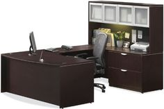 "U Shaped Desk with Hutch by Office Source by Office Source. $1497.00. Lifetime Warranty. U Shaped Desks Office Source PL Series U Shaped Desk is constructed with a thermal fused melamine laminate finish. Desk features 1 locking 2 drawer lateral file. File drawers accommodate letter and legal files. Hutch with tackboard features 4 silver framed tempered glass doors. Overall dimensions are 71""W x 107""D x 65""H. Available in Mahogany, Honey, Cherry, Maple, Modern Walnut and Es..."