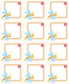 ★..Dulces Momentos..★: septiembre 2010 Classroom Labels, Classroom Posters, Printable Labels, Printable Stickers, School Border, Preschool Names, Diy And Crafts, Crafts For Kids, Butterfly Birthday Party