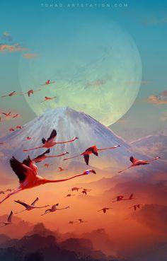Flamingos, Sylvain Sarrailh on ArtStation at https://www.artstation.com/artwork/645460