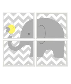 Elephant Nursery Art Chevron Bird Gray Yellow by RizzleandRugee, $50.00