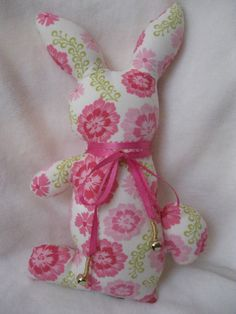 Adorable stuffed Bunny Rabbit with ribbon collar hand-tied with bells in dark and light Pink and White flowers $23 @ http://www.etsy.com/listing/90594495/adorable-stuffed-bunny-rabbit-with