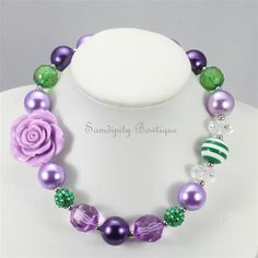 Purple and Green Chunky Bubblegum Bead Necklace by SamdipityBowtique, $21.95