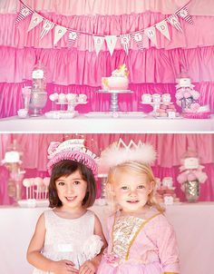 pink princess party dessert table and birthday crowns