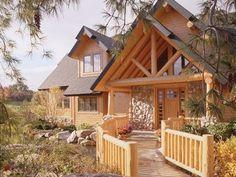 Log home with walkway. Dream.