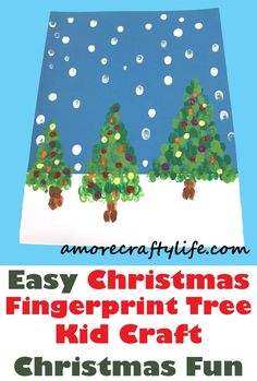 Looking for a quick Christmas Tree Kid Craft? This fingetprint christmas tree kid craft only needs paint and paper. Childrens Christmas Crafts, Christmas Trees For Kids, Christmas Arts And Crafts, Christmas Tree Painting, Holiday Crafts For Kids, Preschool Christmas, Xmas Crafts, Preschool Crafts, Kid Crafts