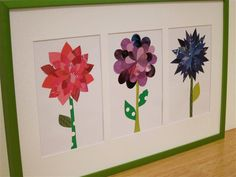 Trio of upcycled paper flower collages as sold on Etsy!