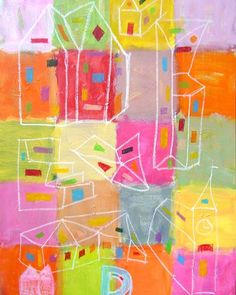"""Arkitekt"" ""Architect"" copyright by www.anne-mette.com #happy #gladefarver #happiness #painting #pin #indretning #indoordecor #walldecor #artgallery #udstiller #udstilling #exhibition #walldecor #exhibitionart #arkitektur #arkitekt #huse #oilsticks  #oliekridt #tegninger #barnlig #childish #modernartist #email #kunst@anne-mette.com"