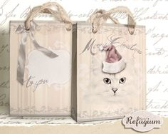 printable Christmas Bag Kitten INSTANT DOWNLOAD by digitalRefugium, €2.00