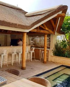 The natural colour of clear treated eucalyptus timber pairs beautifully with a thatched roof, softly adding a subtle touch of rustic to your garden.  #home #villa #design #homedesign #garden #landscaping #socialdistancing  #luxury #lifestyle #family #thatching #thatchedroof #beautiful #gazebo #capereed #exclusiveliving #naturally #dubai #mydubai #uae Outdoor Retreat, Outdoor Spaces, Outdoor Living, Gazebo Ideas, Outdoor Ideas, Outdoor Gazebos, Outdoor Structures, Living At Home, Living Spaces