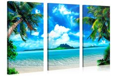 """CARIBBEAN ISLAND - Beach Landscape with Palm Trees Gallery Wrapped Canvas Print Size: 52""""W x 30""""H"""