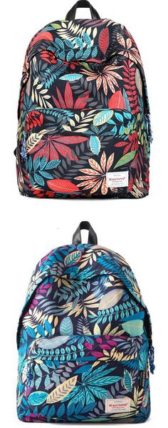 Leisure Flower Printing Canvas School Student Backpacks for big sale! #school #leisure #flower #canvas #student #backpack #leaves