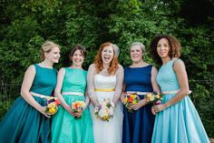 Vintage Prom Dresses Ombre Blues Turquoise Navy Colourful Outdoor Woodland DIY Yurt Wedding http://alexa-loy.com/
