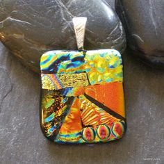 Fused dichroic glass pendant, fire orange, handmade