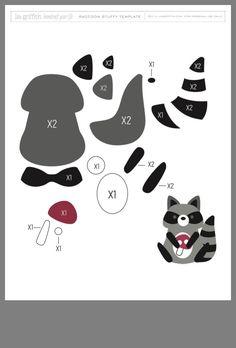 Felt Racoon Template by Lia Griffith Felt Templates, Applique Templates, Felt Animal Patterns, Stuffed Animal Patterns, Felt Diy, Felt Crafts, Fox Pattern, Felt Christmas Ornaments, Marianne Design