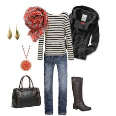 Not sure about the Patterned Scarf along with Striped Shirt.  Hmmm.  Love the super expensive Hooded Pea Coat from Aeropostale. Have the shirt - knock off from Old Navy.