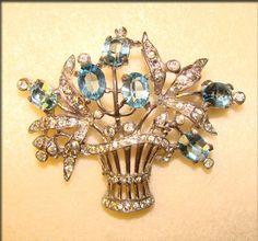 Fabulous Trifari Vintage Sterling Aqua Rhinestone Flower Basket Brooch
