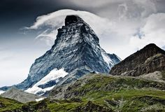 "The Matterhorn | Located in the Pennine Alps in between Switzerland and Italy, the majestic Matterhorn mountain gets its name from the German matte for ""meadow"" and horn for ""peak."""