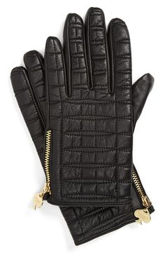 022e43fe3 kate spade new york quilted logo glove Black Gloves, Leather Gloves, Kate  Spade,
