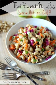 Hot & Cold Thai Peanut Noodles Recipe - healthy dinner and great with grilled chicken