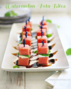 Watermelon Feta Bites - the perfect skinny #summer #appetizer from #YummyMummyKitchen.com