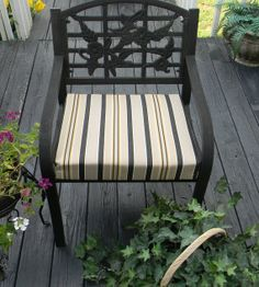 Indoor / Outdoor Foam Universal Chair Seat Cushion with Ties - Black Gold Tan Stripe - Choose Size by PillowsCushionsOhMy, $24.96 Indoor Outdoor, Outdoor Decor, Seat Cushions, Black Gold, Ottoman, Ties, Outdoor Furniture, Chair, Etsy