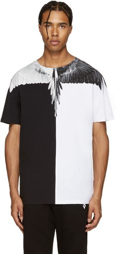 Marcelo Burlon County of Milan - Black & White Lagunas Bravas T-Shirt Mens Printed T Shirts, Mens Fashion, Fashion Outfits, Shirt Style, Shirt Designs, Street Wear, Menswear, Street Style, Black White