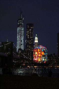 Stained glass water tower and the city, New York