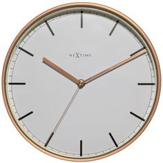 NeXtime Company White & Copper Wall Clock (78 CAD) ❤ liked on Polyvore featuring home, home decor, clocks, fillers, clock, nextime wall clock, white clock, copper home accessories, white wall clock and copper wall clock