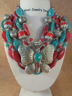 Cowgirl Necklace Set  Chunky Aqua and Red Howlite Turquoise & Coral with a Handcrafted Butterfly Pendant by Outwestjewelry