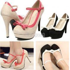 $9.90 Women Ladies Sweet Bowknot Stiletto High Heel Platform Pump Buckle Suede Shoes