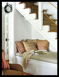 traditional living room Reading Nook from Southern Living Under Stairs Nook, Open Stairs, White Stairs, Under Basement Stairs, Cabinet Under Stairs, Front Stairs, Deck Stairs, Lakeside Cabin, Sweet Home