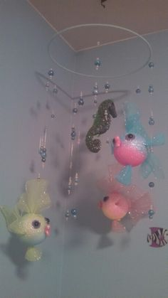 Homemade fish mobile for baby nursery
