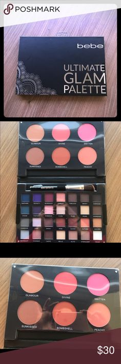 Bebe Ultimate Glam Pallet Everything you need Face Bebe Glam Pallet  Ultimate Glam Pallet is the ultimate eye and cheek Pallet. This Pallet eye shadows go on silk and smoothly.   This Pallet contains:  - Blushes  - Bronzer  - 32 Eye shadow colors - One Brush bebe Makeup Eyeshadow