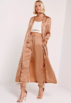 Missguided - Satin Lace Up Side Joggers Nude Pajama Party Grown Up, Pj Party, Silk Joggers, Duster Jacket, Satin Jackets, Pink Jacket, Chic Outfits, Party Outfits, Sexy Outfits