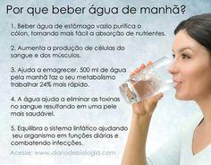 Importância de  beber agua de manha.