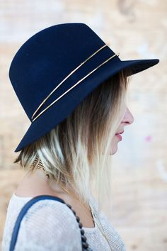 The metal detail on this navy hat stopped us in our tracks.