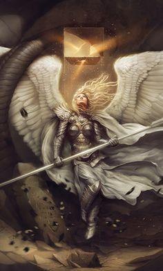Celestial Warrior Uriel by Carlos-Quevedo on DeviantArt Angel Warrior, Fantasy Warrior, Fantasy Girl, Dark Fantasy, Final Fantasy, Fantasy Poster, Fantasy Artwork, Fantasy Kunst, Ange Demon