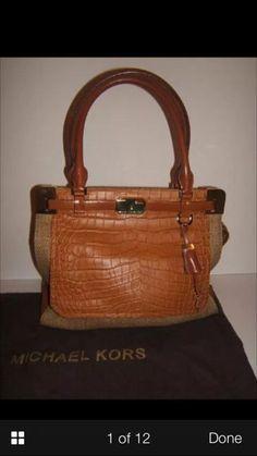 Check out Michael Kors Blake Large Satchel Luxury  Leather Canvas Purse Handbag on Threadflip!