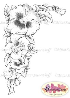 Digital Stamp 3Pack Instant Download Pansy by AuroraWings
