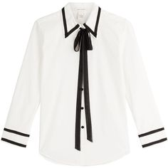 Marc Jacobs Cotton Blouse (€161) ❤ liked on Polyvore featuring tops, blouses, shirts, clothing - ls tops, white, white crop top, white cotton shirt, button front shirt, white crop shirt and pussy bow blouses