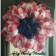 Red White Blue Flower Mesh Wreath Patriotic by ArtsyFartsyWreaths