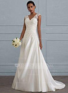 [Kr 1 794] Balklänning V-ringning Sweep släp Satäng Bröllopsklänning med Rufsar Beading Paljetter